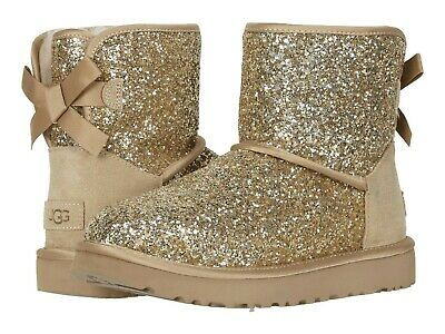 Women's Shoes UGG CLASSIC MINI BOW COSMOS Sheepskin Boots 1107324 GOLD Women Classic Fleece