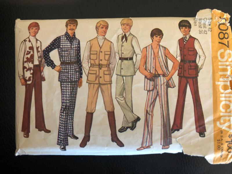 VINTAGE 1970 SIMPLICITY 9087 Mens Pants/Vest Pattern Sz. 42 Chest 42 Waist 36