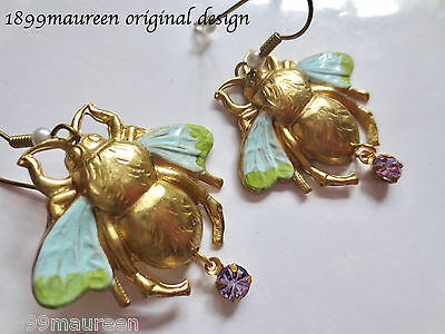 Art Nouveau Art Deco earrings large bee turquoise 1920s Edwardian vintage style