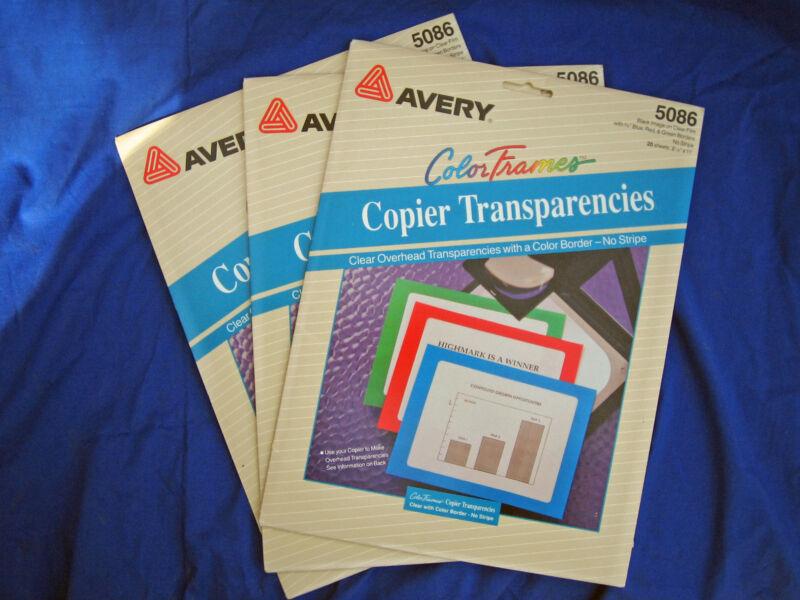 Avery 60 pg Copier Transparencies Color Frames No Stripe 5086 Transparency Film