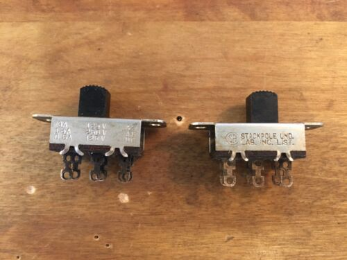 Stackpole DPDT Center On/Off Slide Switch 125V AC 3 Amp ~~