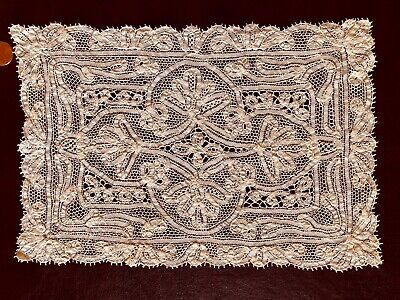 Vintage handmade tape lace centerpiece in Vieux Flandre style