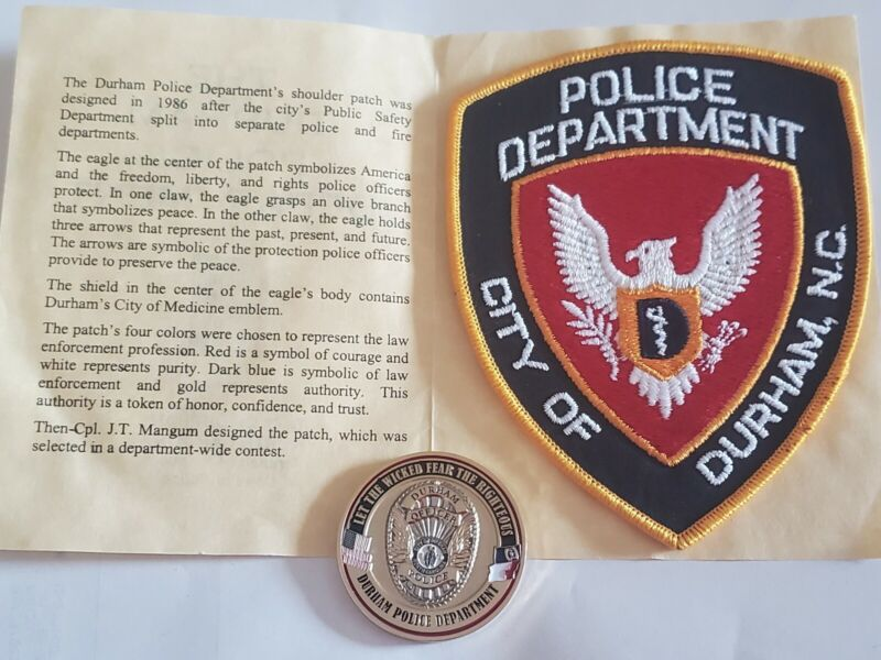 Durham Police Department North Carolina Patch + History Card & Challenge Coin