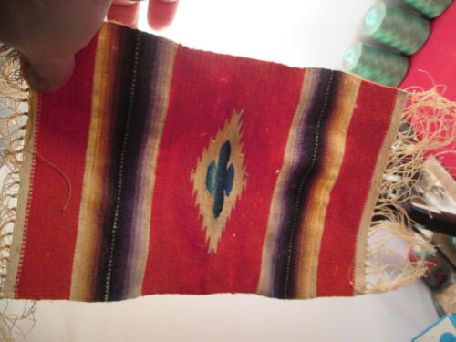 """Vintage Small Artisan miniature Native American Style rug 10X6.5""""  OLD"""