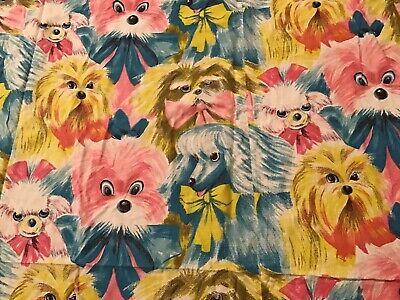 Vintage Mid-century 1960's Cutest DOG Twin Bed Bedspread Shih tzu Poodle & More