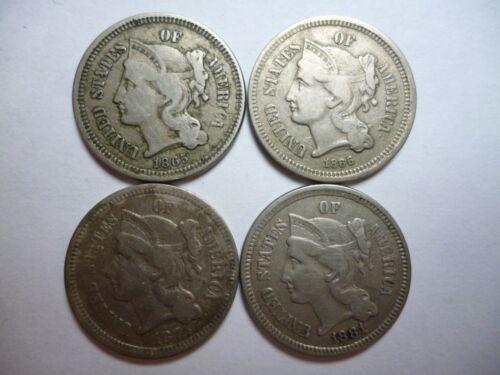 1865 1866 1874 1881 3c III THREE CENT Nickels Excellent