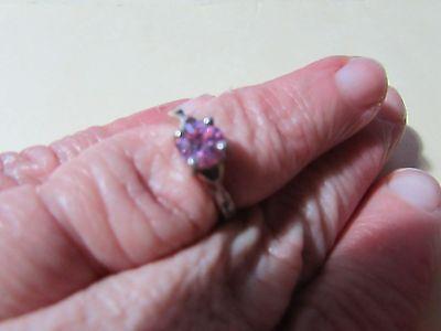 925 Silver ring size 6 - pink gemstone - needs cleaning/polishing
