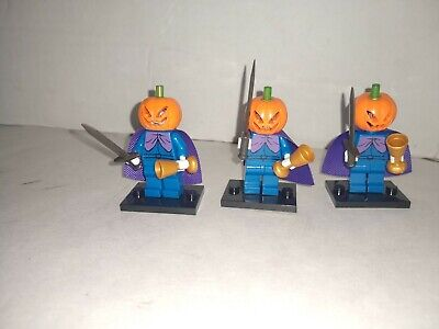 Halloween Series - 3 pc Custom jack o lantern  Lego Minifigures pumpkin head