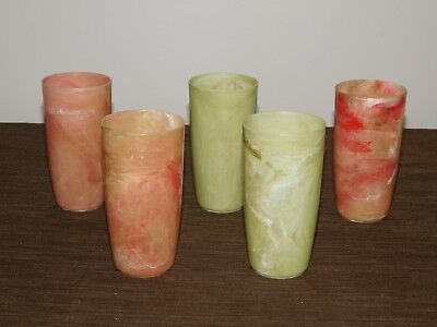 "VINTAGE KITCHEN 5 4 3/4"" HIGH PLASTIC MARBLE JUICE CUPS"