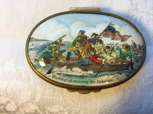 Rare Bilston Battersea Enamel Patch Trinket Box Washington Crossing the Delaware
