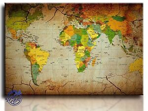 Large Wall Art Canvas Picture Print of World Map Framed eBay