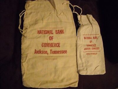 National Bank Of Commerce   Jackson Tennessee   2 Vintage Canvas Cloth Coin Bags