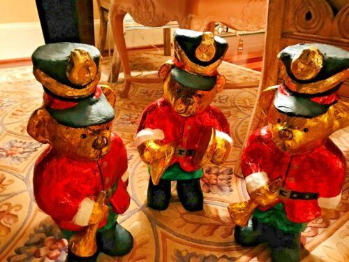 """(3) HOLIDAY TEDDY BEARS (BAND) - OVER 19"""" TALL EACH"""