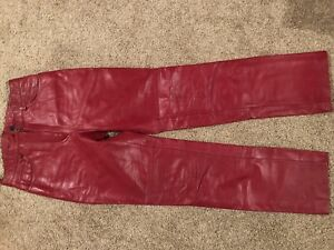 Red Danier Leather Pants Size 2