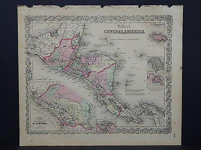 Colton's Maps, 1855, Authentic  Central America R8#53
