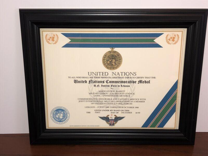 UNITED NATIONS [UNIFIL - LEBANON] COMMEMORATIVE MEDAL CERTIFICATE~Type 1
