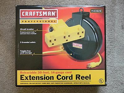 Craftsman Professional Retractable 30-Ft 14-Gauge 3 Outlets Extension Cord Reel