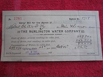 1895 BURLINGTON IOWA WATER COMPANY WATER BILL to BURLINGTON ELECTRIC ST. RAILWAY
