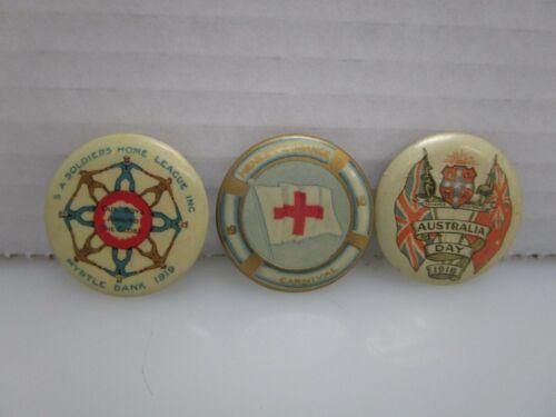 Lot of 3 Antique World War 1 WWI Era Australian Pin Back Buttons (BN)