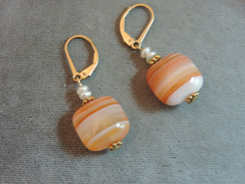 Banded Agate Stone Pearl 14k Gold filled Dangle Lever back Earrings Cg 103