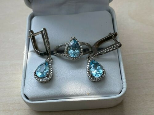 RING SIZE 6 AND EARRINGS SET, STERLING SILVER 925 WITH PEAR CUT SKY BLUE TOPAZ