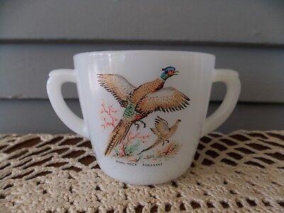 Vintage Fire King Milk Glass Ring Necked Pheasant Game Bird Sugar Bowl