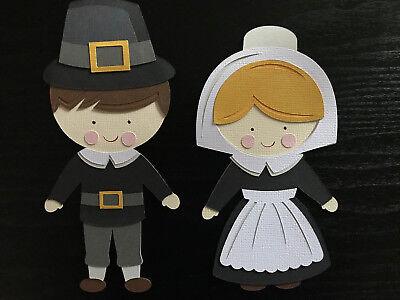 Fall Autumn Thanksgiving Boy or Girl Pilgrim Die Cut Scrapbooking  - Pilgrim Crafts