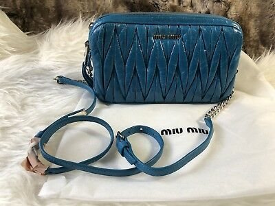NWT Authentic MIU MIU Double Zip Crossbody Bag Purse In Blue Twisted Leather