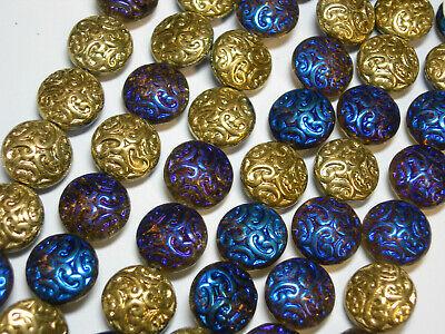 10 Lovely Czech Glass Button Beads 14mm Metallic Blue Amethyst and -