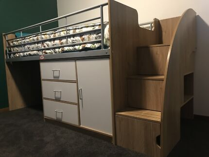 Kids single bed with storage and stairs