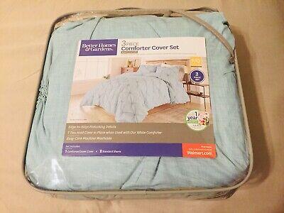 Better Homes & Gardens King Pintuck Comforter/Duvet Cover Set, 3 Piece Aqua