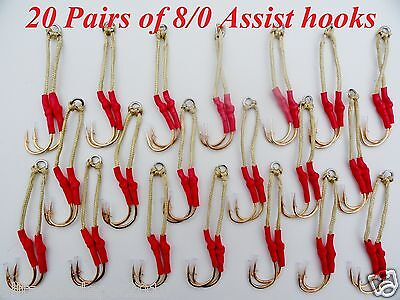 40 Assist Hooks Size 8/0 Gold Finish For Knife Vertical Jigs