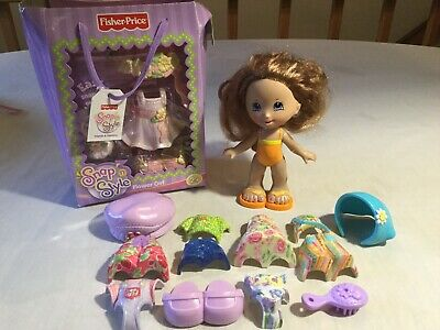 FISHER PRICE SNAP 'N STYLE GABRIELA DOLL & CLOTHES LOT + NIB FLOWER GIRL OUTFIT