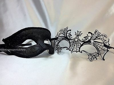 His and Hers Spider Masquerade mask pair for couple Dress up Halloween party
