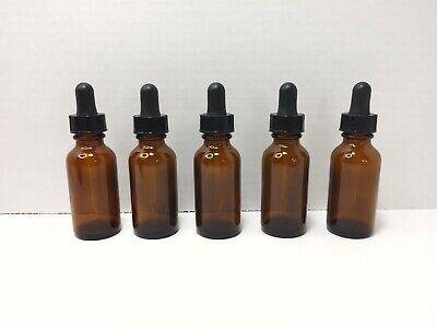 Lot Of 5 Glass Eye Dropper Bottles Amber Wblack Lid 1 Oz 29.5 Ml Brand New