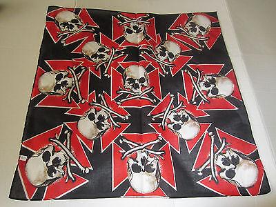 SKULL'S AND CROSSBONE RED IRON CROSS  BANDANA (Red Skull Iron Cross)