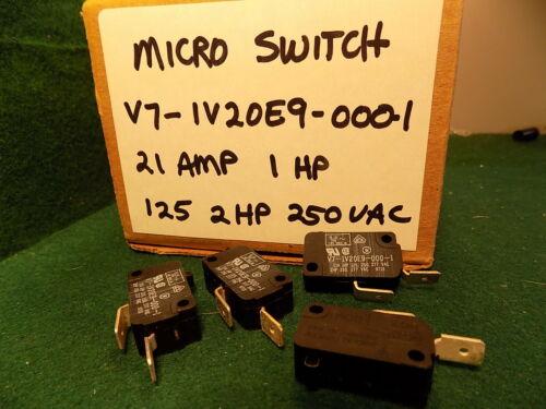 4 Micro Switch V7-1V20E9-0001 21 Amp 1 HP 125VAC 2HP 250 VAC Normally Open NOS