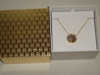 MICHAEL KORS Women's MK Monogram Gold Tone Necklace Crystals MKJ5370710 + MK BOX
