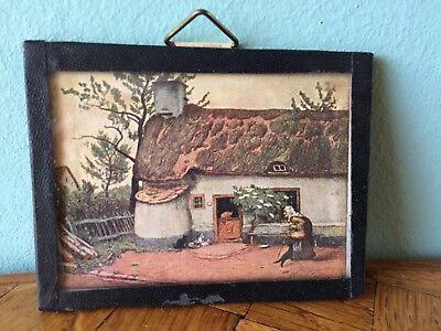 Altes Bild Glas Hexenhaus 30er/40er Puppenstube Puppenhaus dollhouse picture