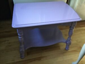 2 purple side tables- available