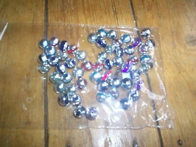 55 round beads 10mm silver with mixed colours NEW
