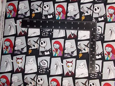 Nightmare Before Christmas Character Blocks Stone Gray Cotton fabric by the yard