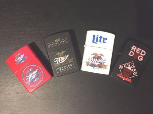 MILLER,MILLER LITE,MILLER  GENUINE DRAFT & RED DOG  OIL LIGHTERS Cigarette/Cigar