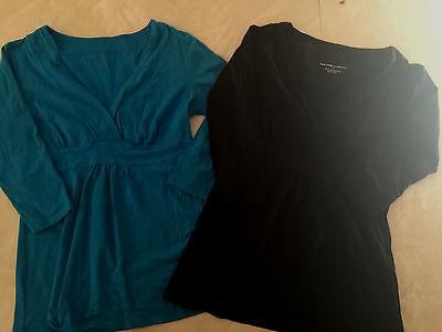 2 ladies XS NEW YORK & COMPANY ny&co SHIRTS LOT full long TEAL BLACK work career (Co-shirts)