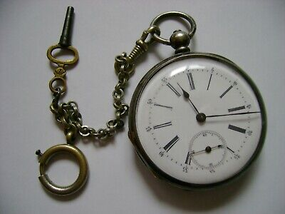 VINTAGE KEY WIND STERLING SILVER POCKET WATCH RUN AND KEEP TIME