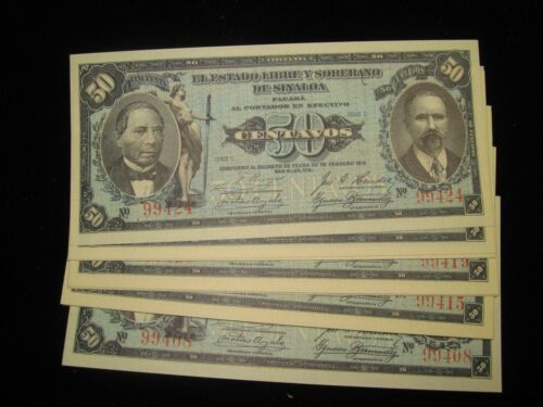 1915 MEXICO SINALOA 50 CENTAVOS BANKNOTE 2 CONSECUTIVE NOTES  M-119