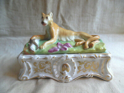 Vintage Ceramic Inkwell With Inserts Cougar On Lid
