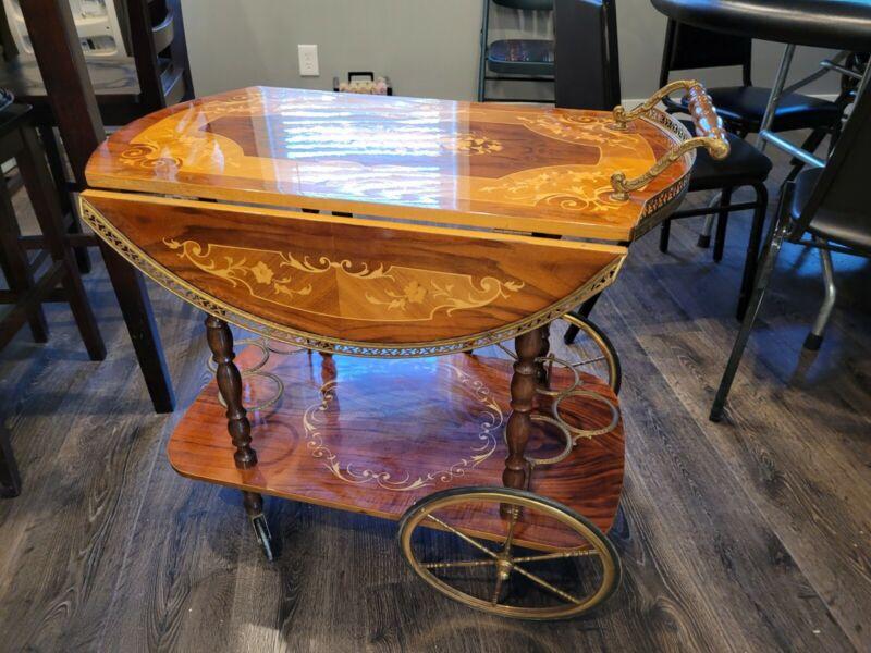 Vintage  Inlaid Marquetry Drop Leaf Tea Cart Server Dumb Waiter Drinks Cart