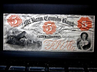 185X  5 Obsolete Bank Note   Mckean County Bank   Smethport Pa L  K  Trusted