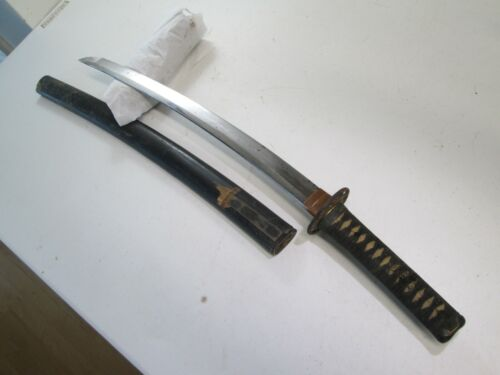 JAPANESE SAMURAI wakisashi SWORD OLD MOUNTS SIGNED VERY ACTIVE TEMPER NO FLAWS